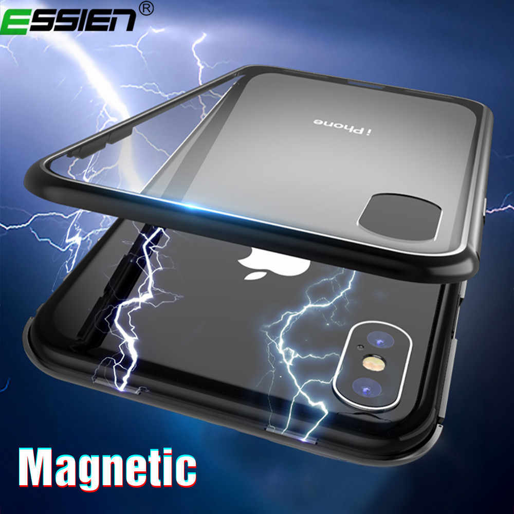 Essien Magnetic Adsorption Metal Case for iPhone 6 6s Plus 8 7 X Xr Magnet Magnetic phone Case for Huawei P20 Mate20 Pro nova3I
