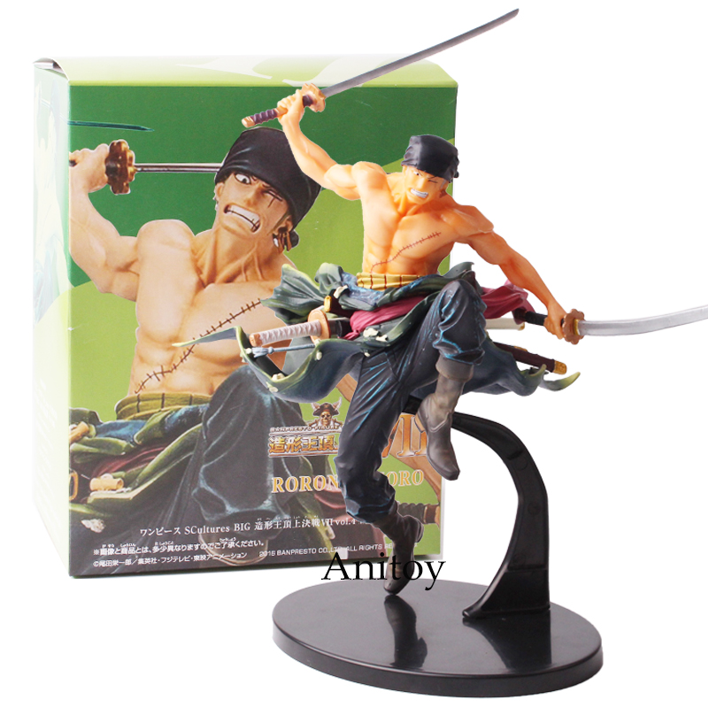 Anime One Piece Roronoa Zoro Fighting Jump Ver. PVC Figure Collectible Model Toy 19cm one piece action figure roronoa zoro led light figuarts zero model toy 200mm pvc toy one piece anime zoro figurine diorama