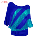 2017 Sexy Women Female Half Sleeve O Neck Sequin Casual Loose T Shirt Big Size Vestidos De Festa Plus Size Clothing