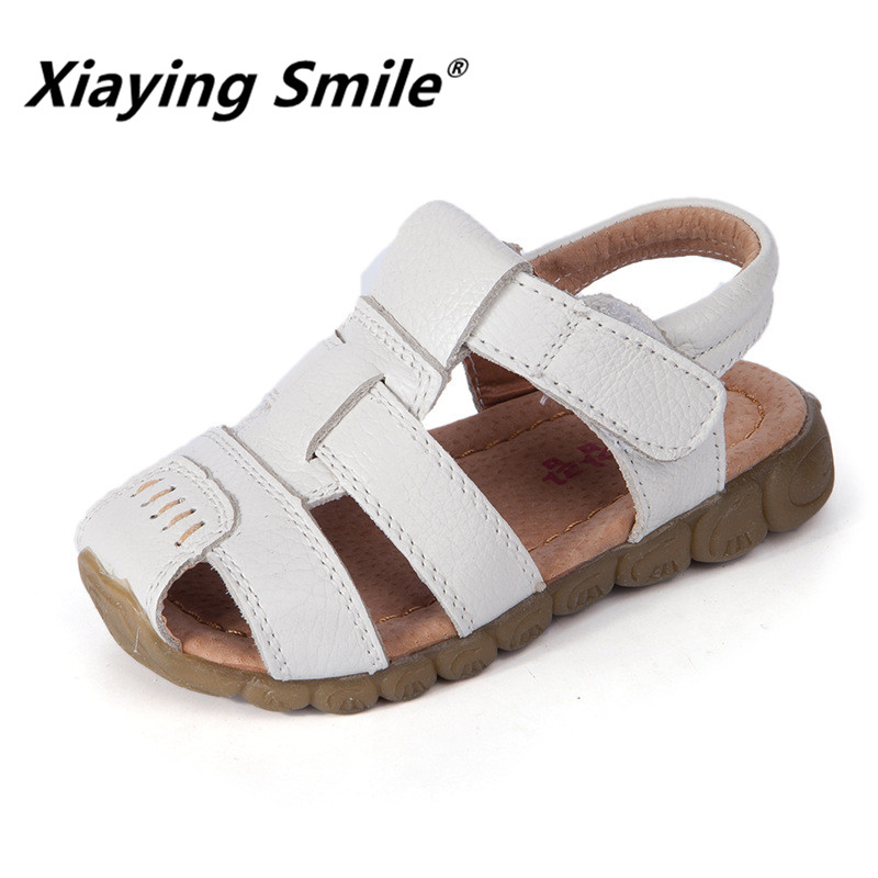 Xiaying Smile 2018 new style children Genuine leather sandals summer soft bottom boy casual comfortable kids shoes Size 21-36