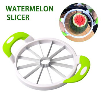 Slicer Cutter with Comfort Silicone Handle Home Stainless Fruit Slicer Cutter Peeler Corer Server for Honeydew Watermelon etc image