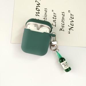 Image 4 - קוריאני חמוד באר עיצוב בקבוק סיליקון אוזניות מקרה עבור אפל Airpods אביזרי Bluetooth אוזניות מגן כיסוי מפתח טבעת