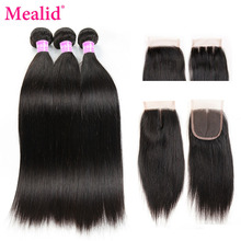 Mealid Brazilian Hair With Closure Straight Hair 3 Bundles With Closure Noremy Natural Color Human Hair Bundles With Closure (China)