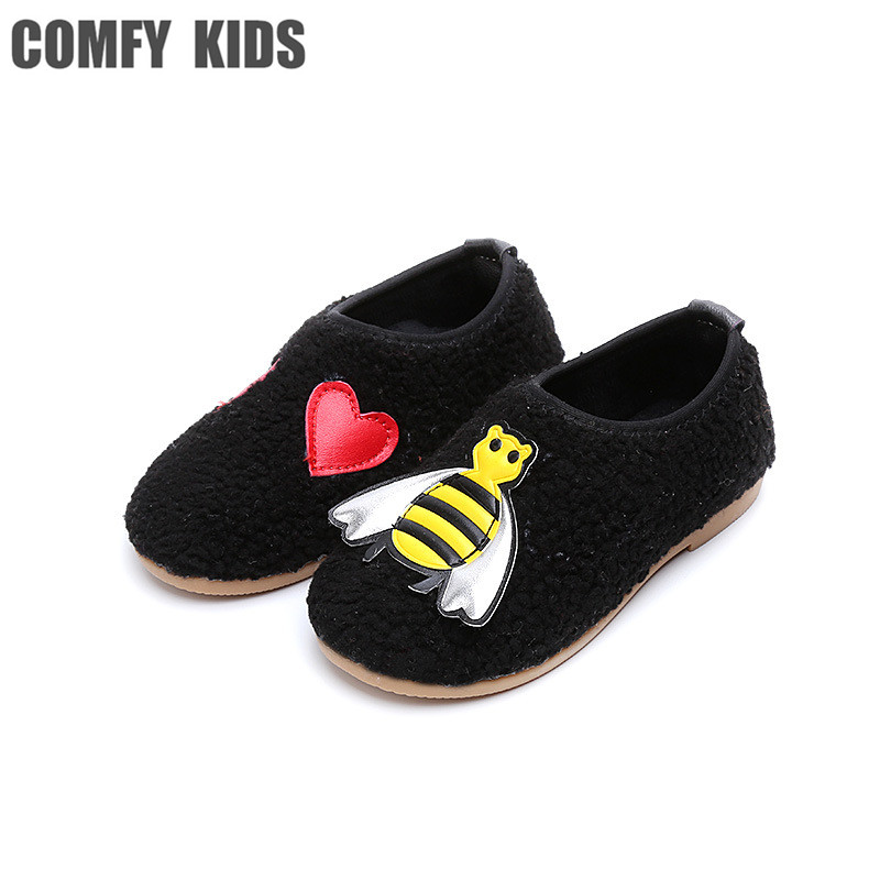 comfy kids Plus velvet peas cotton shoes child wrap carton love warm soft baby kids shoes of boys and girl fashion casual style