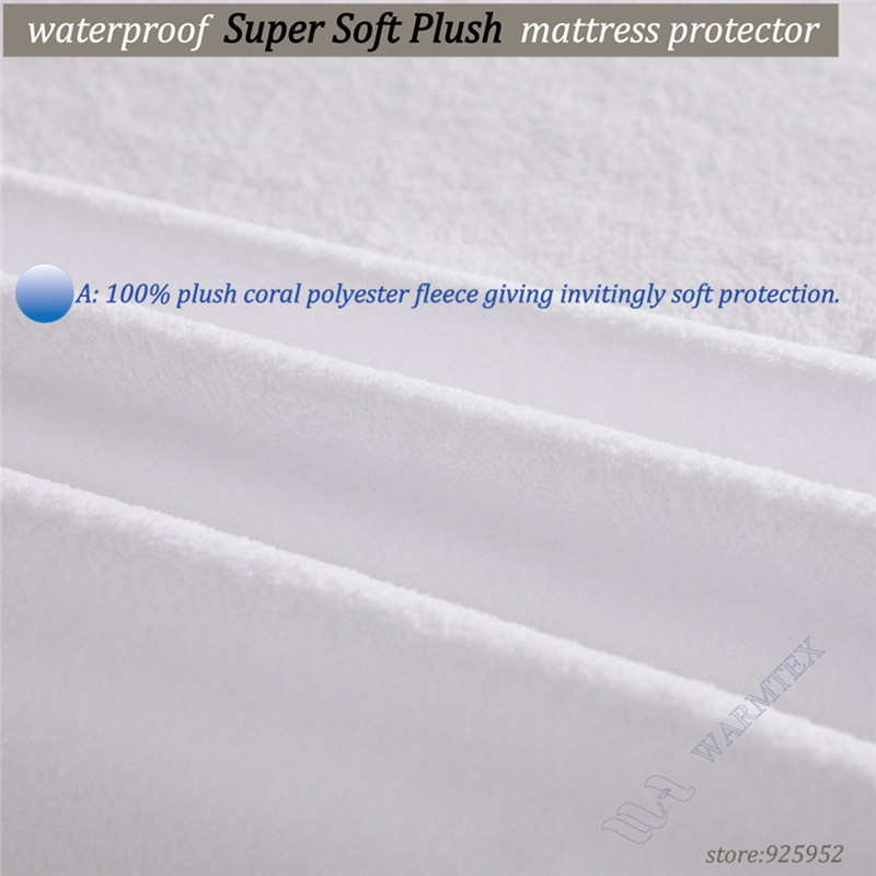 Luxury Customized Both 100% Waterproof and Breathble Soft fleece cloth Waterproof Mattress Protector/ Mattress Cover 140x200cm