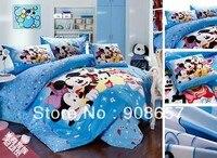 Twin full nữ hoàng vua duvet bao gồm bộ đồ giường cotton tập dễ thương ánh sáng màu xanh mickey minnie prints trẻ em của cô gái khăn trải giường 3 cái 4 cái