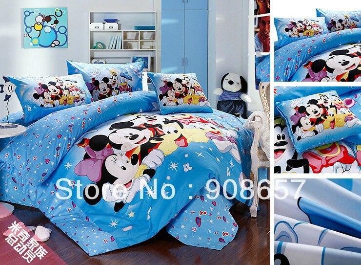 Twin Full Queen King Duvet Covers Cotton Bedding Set Cute Light Blue Mickey Minnie Prints