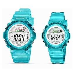 Спорт Круглый Циферблат цифровой Дисплей дети унисекс Водонепроницаемый светящиеся наручные часы