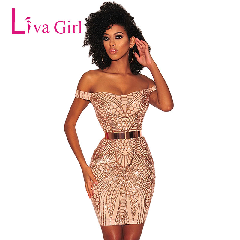 410f8d04ef0 Liva Girl Gold Sequined Bodycon Party Mini Dress Women Sexy Nude Lllusion  Strapless Night Club Dresses