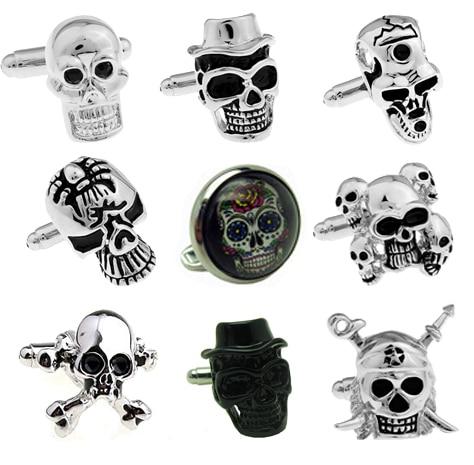 Ücretsiz Kargo Kafatası Kol Düğmeleri vintage siyah kafatası tasarım erkekler için renkli sır taş büyük boy manşet kol düğmeleri toptan ve perakende