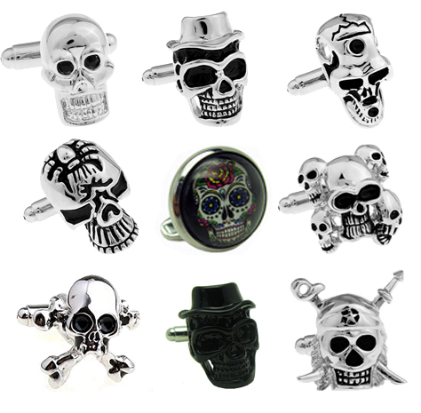 Free Shipping Skull Cufflinks vintage black skull design coloured glaze stone big size for men cuff cufflinks wholesale&retail