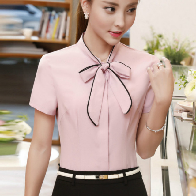 2017 Summer Short Sleeve Office Work Wear Ol Shirts Women Body Spandex Formal Bow