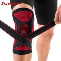 Kuangmi Adjustable Silicone Pad Sport Leg Knee Support Football Basketball Compression Elastic Kneecap Patella Sleeve And