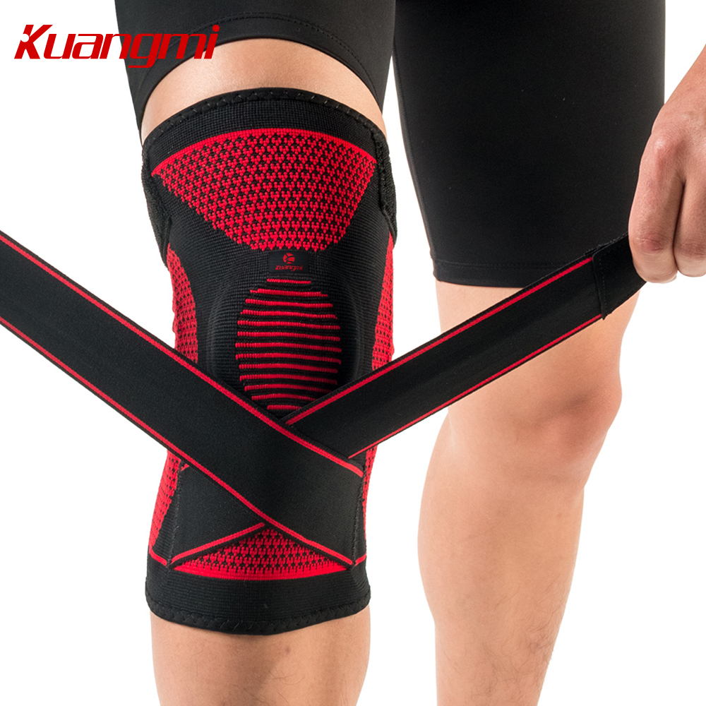 Kuangmi Adjustable Silicone Pad Sport Leg Knee Support Football Basketball Compression Elastic Kneecap Patella Sleeve and Wrap