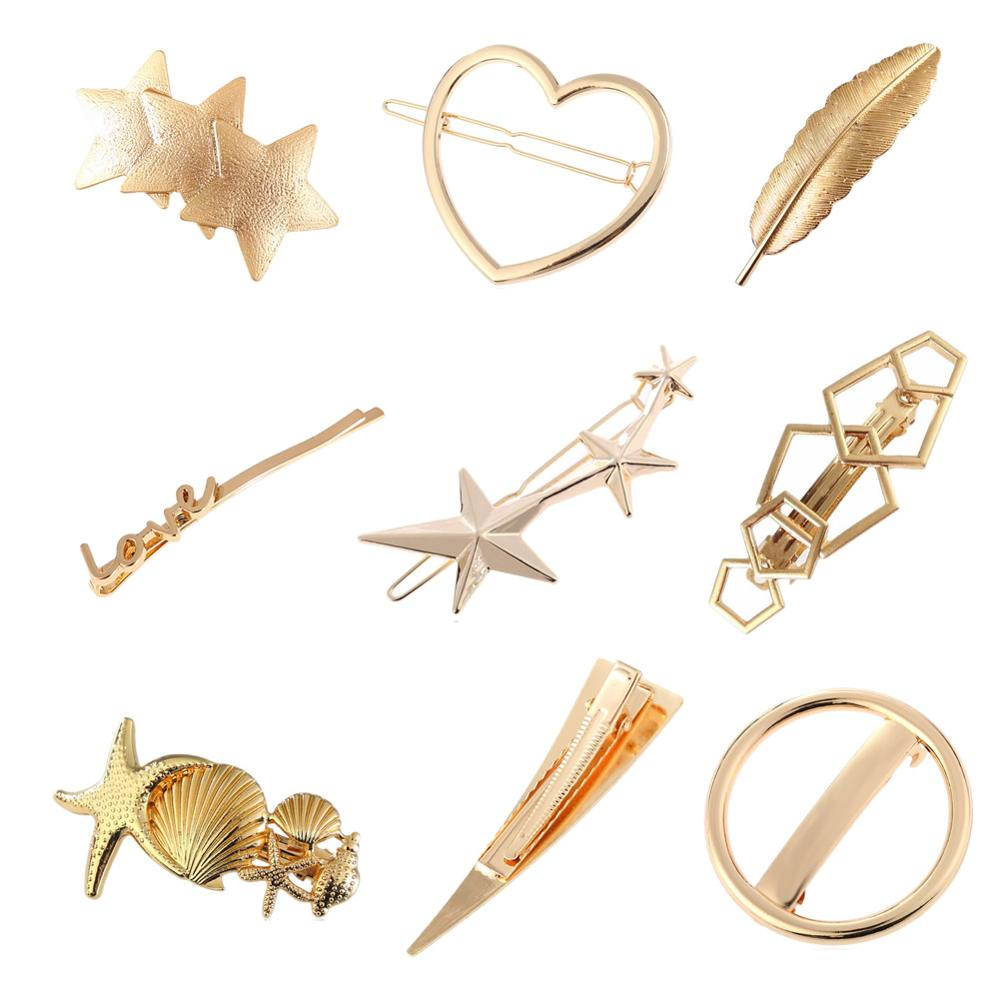9 Pack Gold Vintage Retro Geometric Minimalist Hair Clip Snap Barrette Bobby Pins Alligator Hairclips Metal Accessories