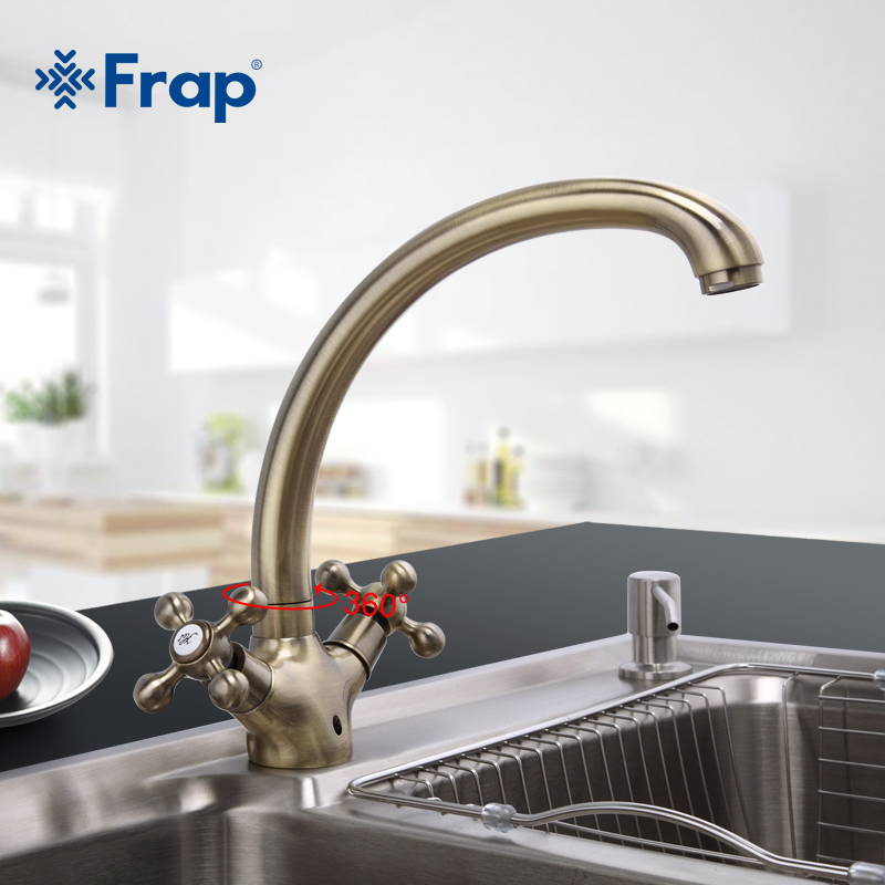Frap Double Handle Kitchen Faucet Antique Brass Hot and Cold Water Mixer 360 Degree Rotating Gooseneck Design F4219-4Frap Double Handle Kitchen Faucet Antique Brass Hot and Cold Water Mixer 360 Degree Rotating Gooseneck Design F4219-4