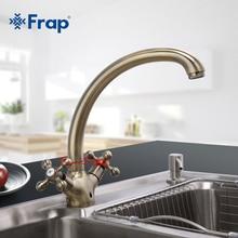 Frap Двойная Ручка Смеситель для кухни Античная Латунь горячей и холодной водой 360 градусов вращающийся Гусенек Дизайн F4219-4