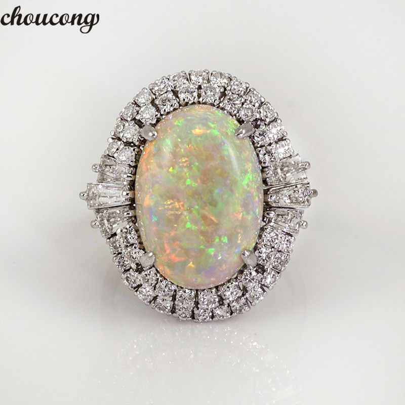 choucong Vintage Big Opal Ring 925 silver AAAAA Zircon cz Party Wedding Band Rings For Women men Fashion Jewelry