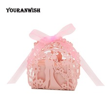 laser cut Bride and groom gift box wedding favors gifts candy favor for 50pcs 100