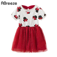 Baby Girls Minnie Dresses 2016 Summer Kids Girl Mouse Shortsleeve Cotton Clothes Dress Print Big Yam