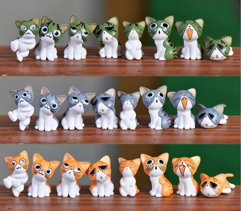 (8pcs/lot) Cheese cat miniature figurines toys cute lovely Model Kids Toys japanese anime children figure world image