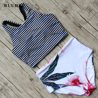 RUUHEE Bikini 2017 Black Swimsuit Women High Waist Bikini Set Padded Swimwear Push Up Bathing Suit