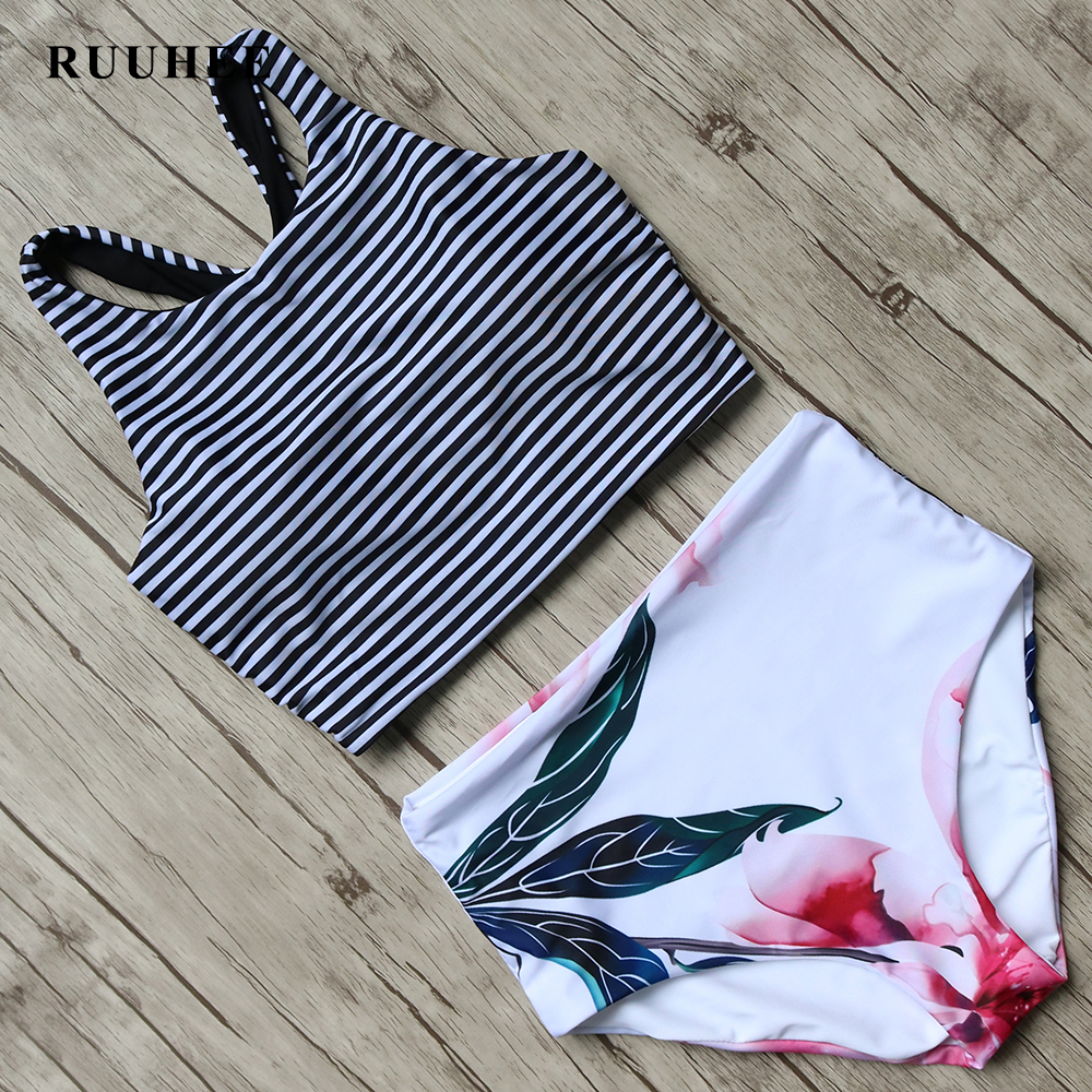 RUUHEE Bikini 2017 Black Swimsuit Women High Waist Bikini Set Padded Swimwear Push Up Bathing Suit Summer Beach Swimming Suit plus size bikini women swimsuit bikini set push up padded bra bathing suit swimwear party pool beach sunbathing swim set