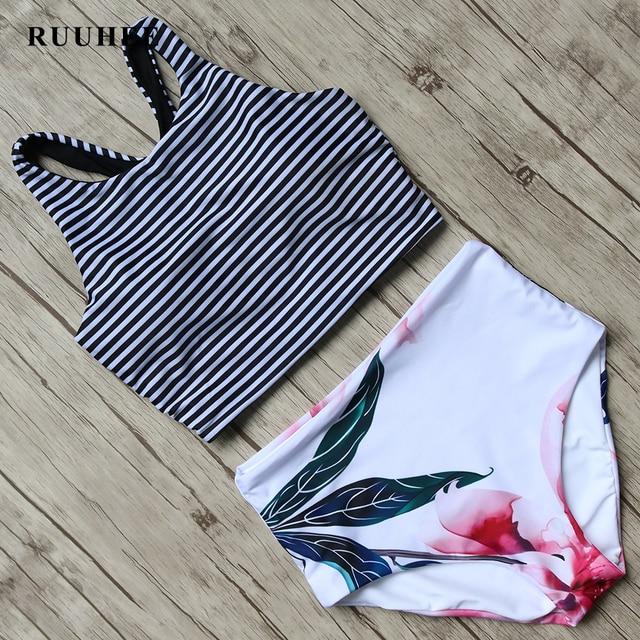 RUUHEE Bikini 2017 Black Swimsuit Women High Waist Bikini Set Padded Swimwear Push Up Bathing Suit Summer Beach Swimming Suit