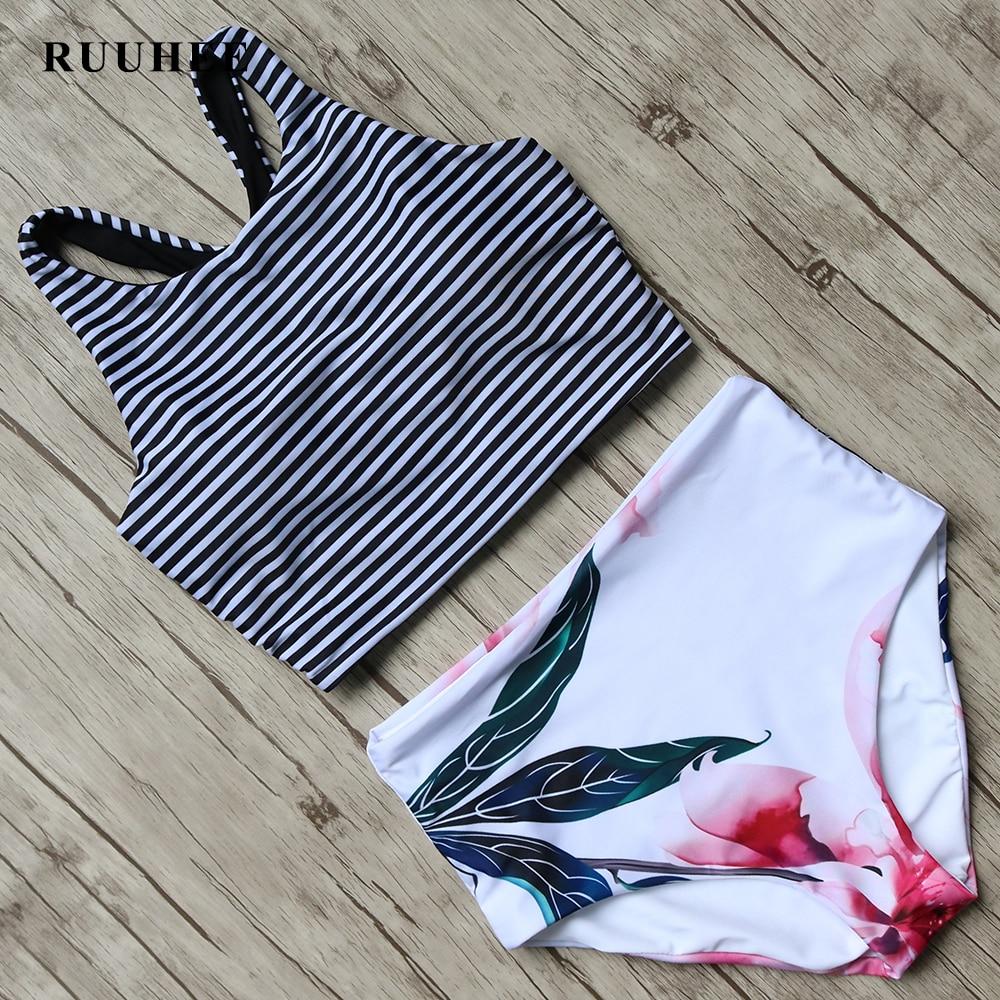 RUUHEE Bikini 2017 Black Swimsuit Women High Waist Bikini Set Padded Swimwear Push Up Bathing Suit