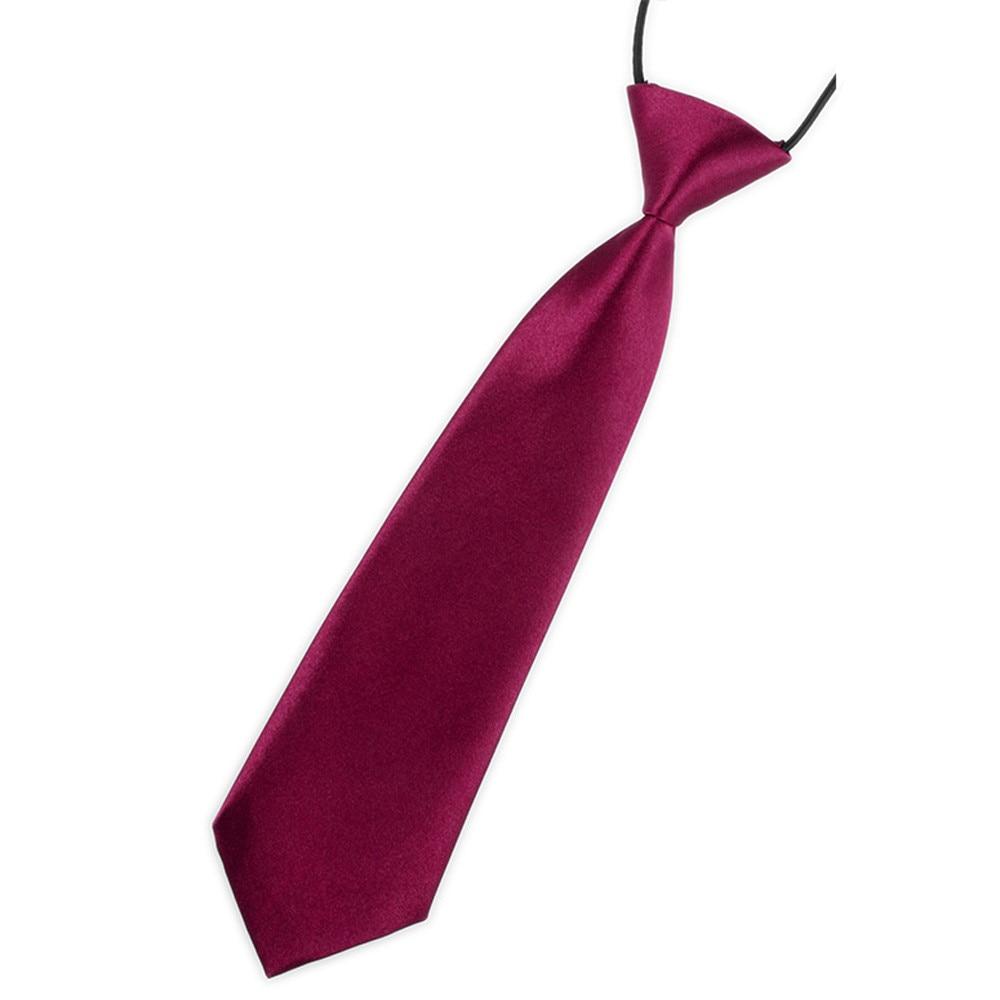 School Boys Kids Children Baby Wedding Solid Black Colour Elastic Tie Necktie
