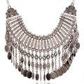 2017 grandes collares gruesos declaración gypsy colier vintage boho étnico tribal coin collares maxi collar