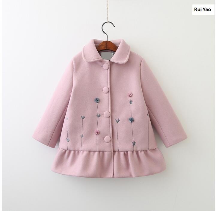 YP71012476 2017 Winter Baby Girl Coat Fashion Worm Lolita Girl Outerwear Ruffles Appliques Flower Lolita Girls Clothes юбка other flower lolita b113
