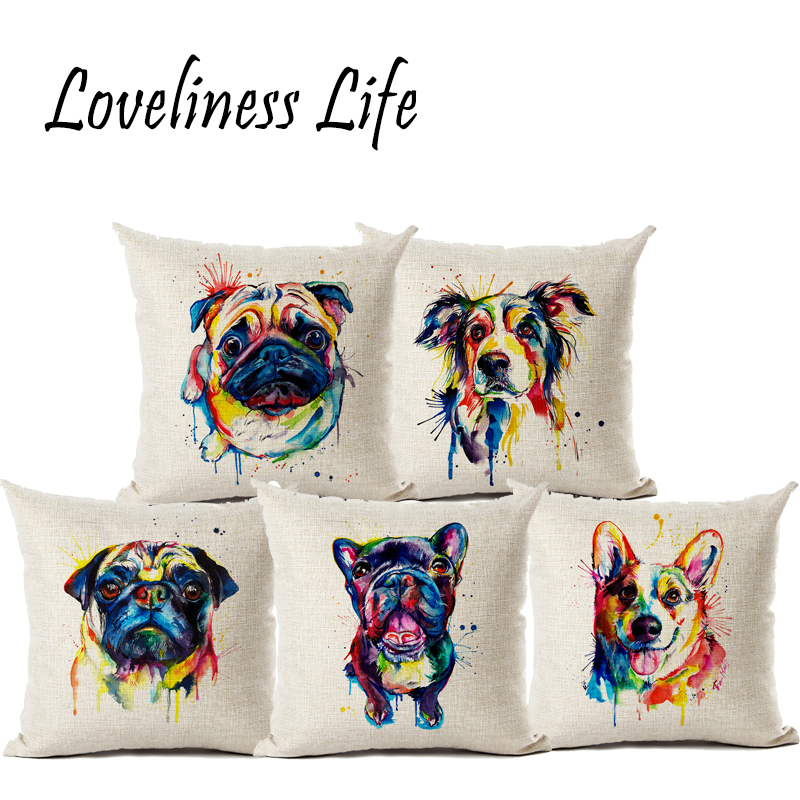 Colorful Animal Pig Dog Watercolor Linen Pillow Cushion Cover Home Car Couch Decorative Pillow Case 45x45cm Almofada Capa Cojine