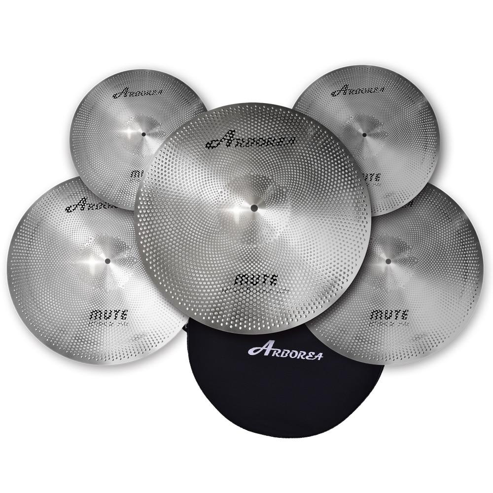 Arborea Mute/Silent cymbal set: 14hihat+16crash+18crash+20ride+cymbal bag тарелка крэш zultan 16 aja crash