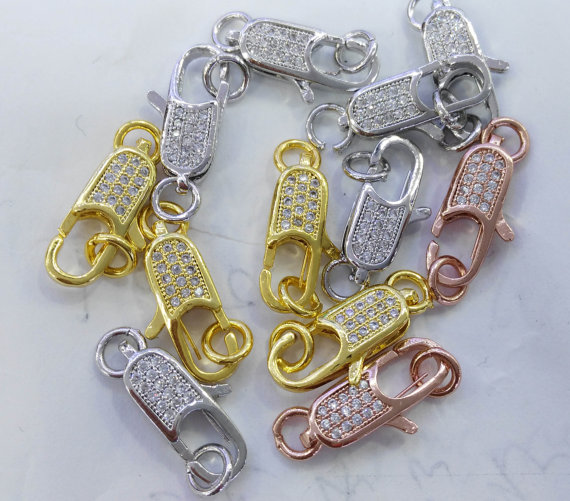 Collier fermoir 12 pièces 12-25mm CZ Micro pavé diamant pavé homard fermoirs résultats de bijoux Micro pavé long ovale en laiton Conenctor be