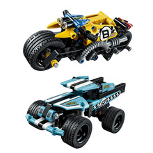 DECOOL Technic Stunt Bike Stunt Truck Building Blocks Sets Bricks Kids Model Kids Toys Marvel Compatible Legoe