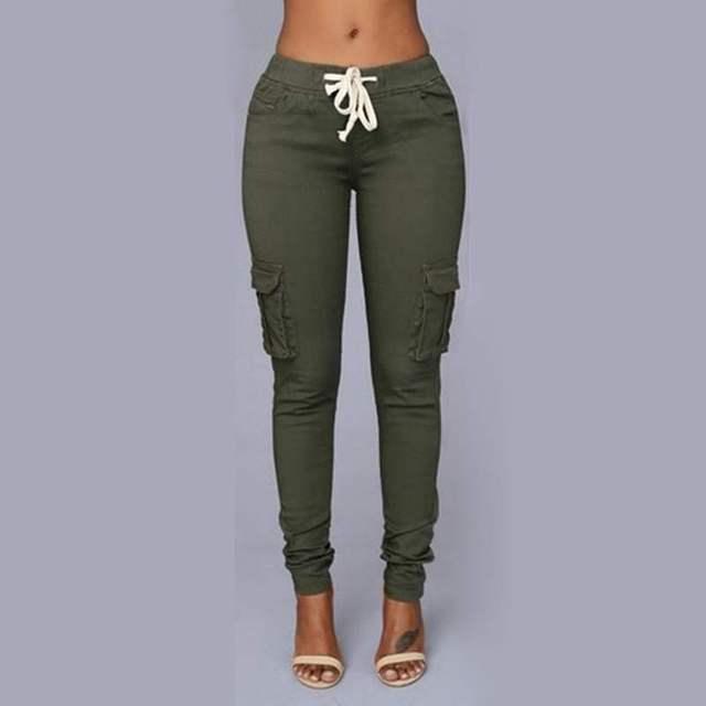 86698ab3630 Damskie spodnie farbują wielo-kieszeni spodni w pasie rajstopy stretch sexy  spodnie damskie czerwony zielony