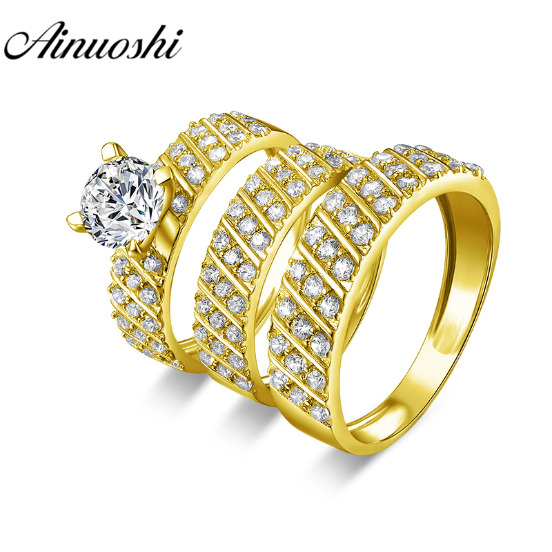 AINUOSHI Real 14K Yellow Gold TRIO Couple Wedding Ring Set Geometric Strip Male Band Lover Engagement Wedding Bridal Rings Set