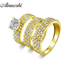 AINUOSHI Real 14K Yellow Gold TRIO Couple Wedding Ring Set Geometric Strip Male Band Lover Engagement Wedding Bridal Rings Set - DISCOUNT ITEM  47% OFF All Category