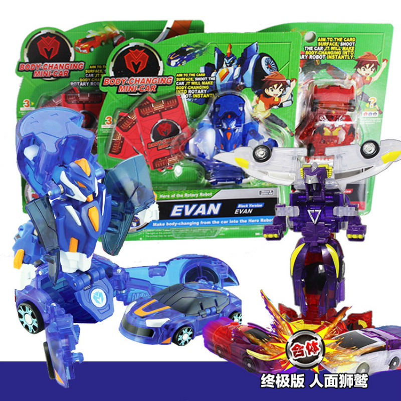Transformation Mini Cars Toys For Children Action & Toy Figures Plastic Deformation Boys Gifts Mobile Humanoid Robot Garage Kit