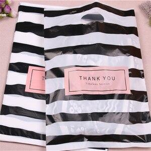 Image 5 - Nouveau Design en gros 100 pcs/lot 25*35cm luxe mode Shopping en plastique cadeau sacs avec merci faveur anniversaire emballage