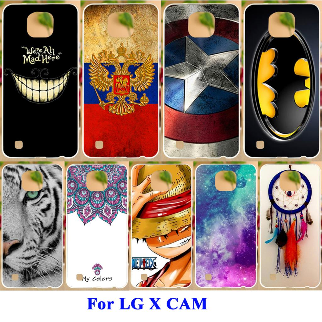 AKABEILA Soft TPU Silicon Phone Shell For LG X Cam Case K580 K580Y X-cam F690 K580 K580DS Cover Tiger Captain American Painted