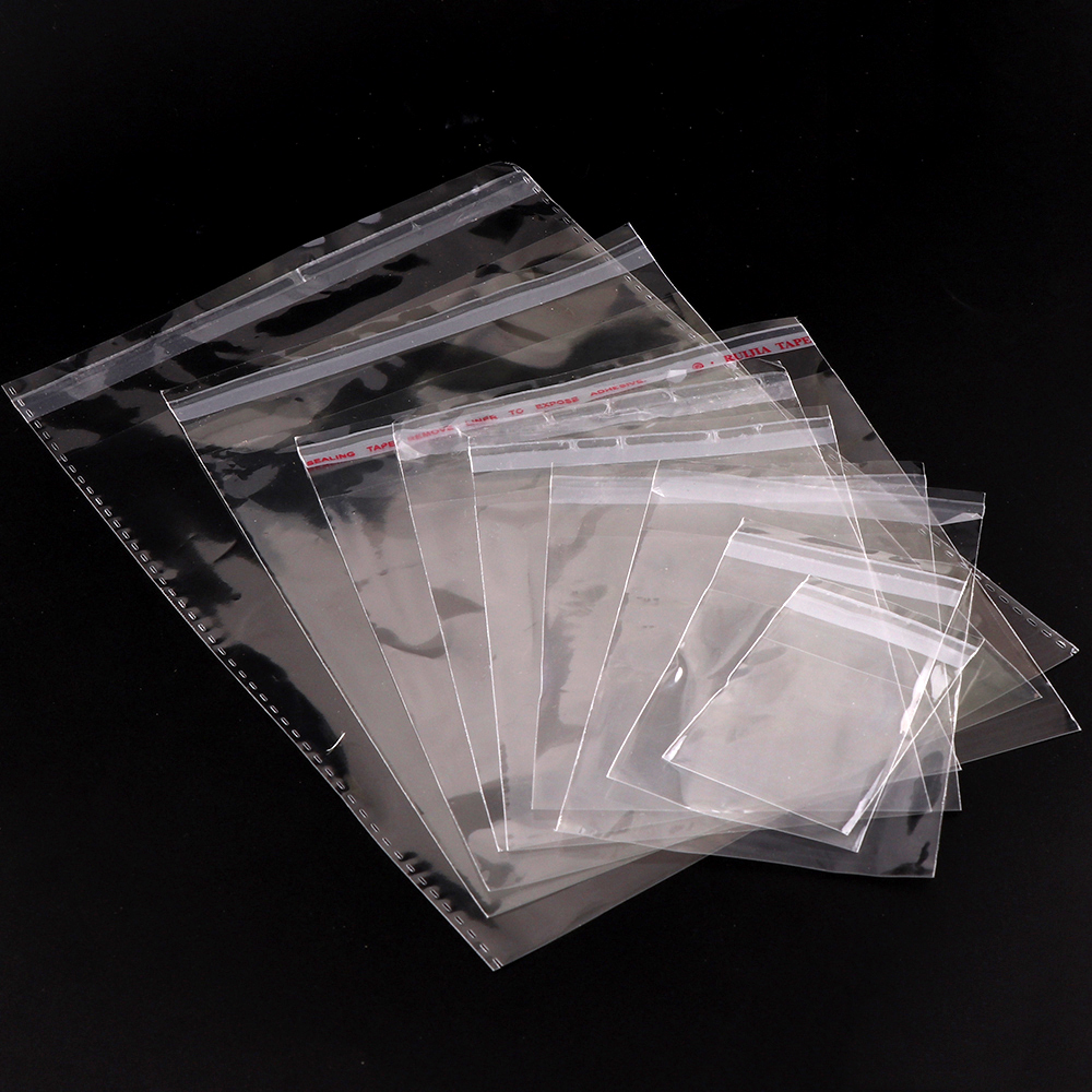 200pc/lot 17 Size Storage Bags Clear Self Adhesive Seal Plastic Packaging Bag Resealable Cellophane OPP Poly Bags Gift Bags