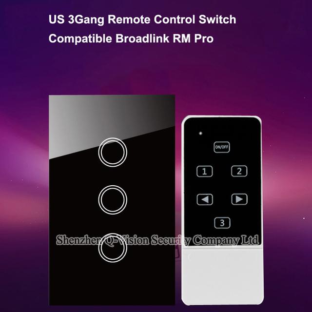 Ee.uu. standard 3 gang, teléfono remoto táctil de interruptor de pared, interruptor domótica, broadlink rm pro control de lámparas, lujo cristal blanco ac110-250v