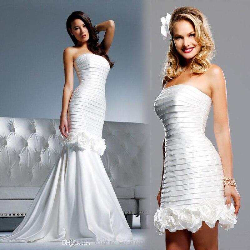 Satin Mermaid Wedding Gown: New Fashionable Wedding Dresses Detachable Skirt Handmade