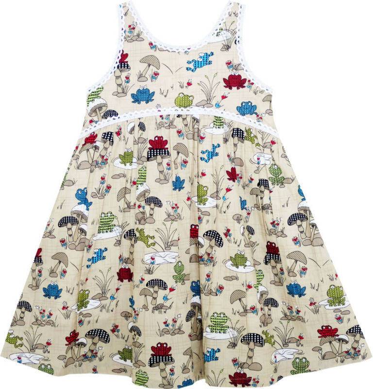 Sunny Fashion Girls Dress Halter Sleeveless Frog Mushroom Lotus Flower Cotton 2017 Summer Princess Wedding Party Size 2-6 20pcs compatible okidata es9431 es9531 45103723 image drum white chip for oki es 9541 9431 pro9431dn pro9541dn pro9542dn chips