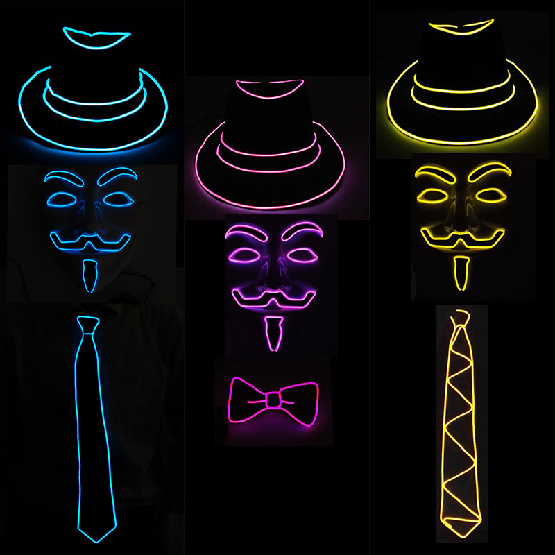 Hot Sales Unisex Festival LED Rave Light Party Glow Suit EL Hat+Glowing Tie+Neon Mask As LED Accessories and Glow Party Supplies