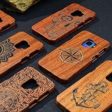 מלא עץ מקרה עבור סמסונג גלקסי הערה 9 8 S5 S6 S7 S8 S9 קצה בתוספת טלפון כיסוי 100% טבעי במבוק בעבודת יד גילוף מקרי