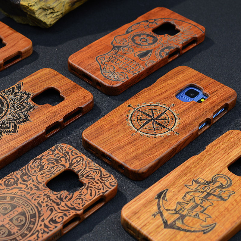 Full Wood <font><b>Case</b></font> For <font><b>Samsung</b></font> Galaxy <font><b>Note</b></font> <font><b>9</b></font> 8 S5 S6 S7 S8 S9 Edge Plus <font><b>Phone</b></font> Cover 100% Natural Bamboo Handmade Carving <font><b>Cases</b></font> image
