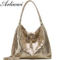 Arliwwi бренд женский из натуральной кожи Змеиный узор Сумки с тиснением качество двойные молнии женские блестящие сумочки из натуральной кож...